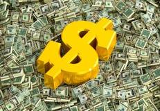 金黄美元的符号 免版税库存照片