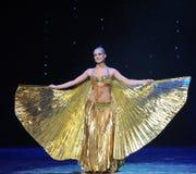 金黄翼土耳其腹部舞蹈这奥地利的世界舞蹈 免版税库存图片