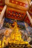 金黄菩萨雕象图象在Wat Phra那Cho Hae 免版税库存图片