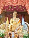 金黄菩萨雕象在Wat柴Mongkon寺庙, Chiangmai,泰国 免版税库存照片