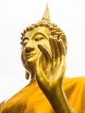 金黄菩萨雕象的手在佛教寺庙, Uthaithani,泰国的 库存图片
