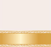金黄葡萄酒奶油色鞋带的卡片 免版税图库摄影