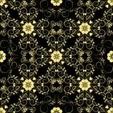 金黄葡萄酒装饰品 花卉模式无缝的向量 库存图片