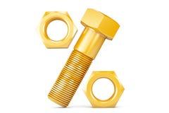 金黄螺栓和坚果当百分比标志 免版税库存图片