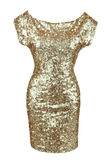 金黄衣服饰物之小金属片礼服 免版税图库摄影