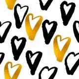 金黄被绘的形状样式,手拉的水彩刷子 免版税库存照片