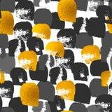 金黄被绘的形状样式,手拉的水彩刷子 免版税图库摄影