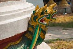 金黄装饰元素的片段 Bago Myanma 缅甸 免版税库存照片