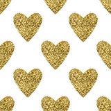 金黄闪烁心脏无缝的样式 库存图片