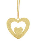 金黄闪烁心脏,在丝带的圣诞节装饰隔绝了 库存图片