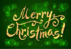 金黄闪烁油漆手拉的圣诞快乐 库存图片