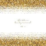 金黄闪烁边界背景 闪亮金属片发光的背景 豪华金模板 向量 库存图片