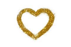 金黄闪烁闪闪发光的抽象心脏在白色的 库存图片
