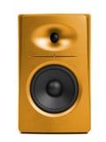金黄音频报告人(合理的演播室显示器) 库存图片