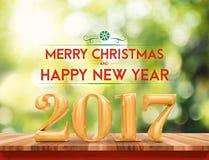 金黄颜色2017年圣诞快乐和HappyNew年& x28; 3d renderin 库存图片