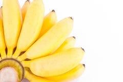 金黄香蕉的有机手在白色被隔绝的背景健康Pisang Mas香蕉果子食物的 免版税库存图片