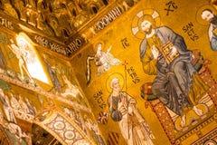 金黄马赛克在La Martorana教会,巴勒莫,意大利里 库存照片