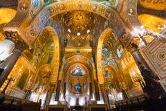 金黄马赛克在La Martorana教会,巴勒莫,意大利里 库存图片