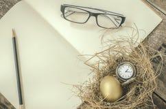 金黄鸡蛋,在巢的怀表, 免版税库存照片