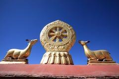 金黄鹿和菩萨dharma的轮子--大昭寺寺庙 免版税库存图片