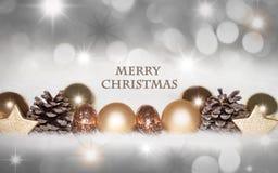金黄,银色圣诞节背景 免版税库存照片