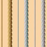 金黄,银色,白色绳索,无缝的样式 免版税库存图片