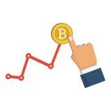 金黄bitcoin和生长图在白色背景 EPS 10向量文件 库存图片