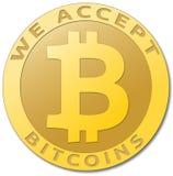 金黄bitcoin真正货币 图库摄影