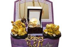 金黄Budha和金黄青蛙在白色背景 库存照片