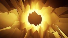 金3D低多水晶洞隧道Loopable行动背景 库存例证