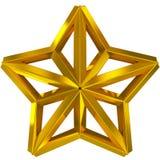金黄3d被隔绝的圣诞节星 免版税库存图片
