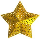 金黄3d被隔绝的圣诞节星 免版税库存照片