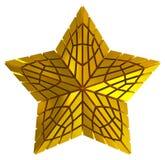金黄3d被隔绝的圣诞节星 库存图片