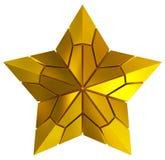 金黄3d被隔绝的圣诞节星 图库摄影