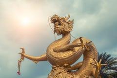 金黄gragon雕象 普吉岛泰国 免版税库存照片