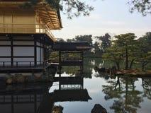 金黄pavillion,寺庙Kinkakuji在京都,日本 免版税库存照片