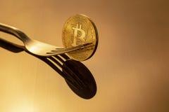 金bitcoin在金黄光的物理Bitcoin-Cryptocurrency Bu 免版税库存图片