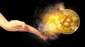 金bitcoin硬币 图库摄影