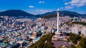 釜山市,韩国鸟瞰图  从寄生虫的鸟瞰图 库存照片