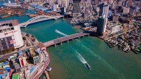 釜山市,韩国鸟瞰图  从寄生虫的鸟瞰图 免版税库存图片