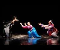釜山韩国传统舞蹈表现在剧院的 免版税库存照片