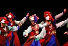 釜山韩国传统舞蹈表现  免版税库存照片