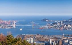 釜山,韩国鸟瞰图  库存图片