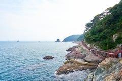 釜山,韩国- 2015年9月20日:Songdo海岸博列gil 库存图片