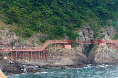 釜山,韩国- 2015年9月20日:Songdo海岸博列gil 免版税图库摄影
