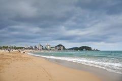 釜山,韩国- 2015年9月19日:Songjeong海滩 图库摄影