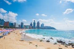 釜山,韩国- 8月03 :8月03,2017的Haeundae海滩在釜山,韩国 免版税库存图片