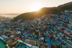 釜山Gamcheon文化村庄看法在釜山,韩国 免版税库存照片