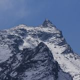 针对性的山峰在Langtang国家公园,尼泊尔 竞争 免版税图库摄影