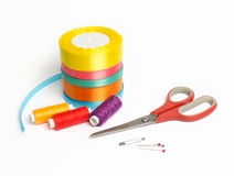 针线和缝合的材料 库存照片